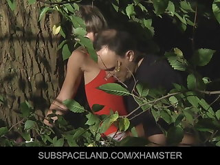 Young blonde directed up with the addition of fucked beside the woods