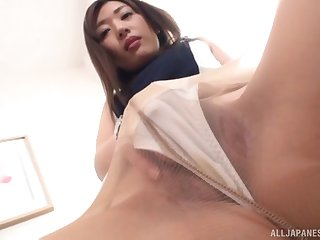Solo clothed masturbation session in the matter of Japanese MILF Sakaguchi Rena