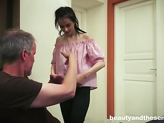 Dark haired honey knows how to oblige her neighbor next door, as the crow flies he struggles with his wifey