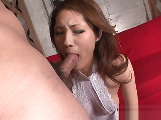 Throbbing hairy asian deepthroat action