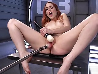 Redhead Beauty Drilled Round Pussy With Machine