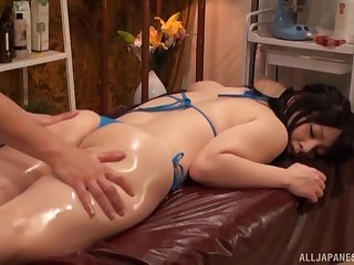 As a substitute for of massage horny Japanese gets a hard masseur's penis
