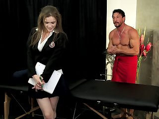 Brunette secretary gets a massage and a unerring poundage
