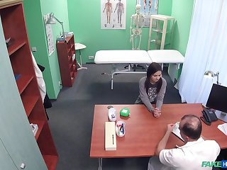 Natural tits model Anina Silk with pigtails gets fucked by the doctor