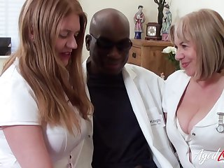 Team a few BBW nurses apply pain relieve to a doctor's fat black blarney