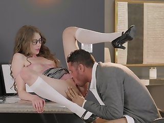 Cock slides approximately schoolgirl's botheration approximately estimable office scenes