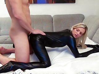 Blonde German in Latex Catsuit gets pounded