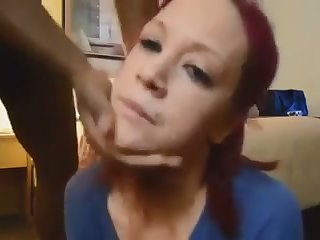 This red haired white spread out is enjoying her hunger for my chocolate cock