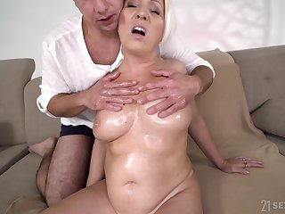 Doyenne woman's sexual deportment with a younger man plus that woman has big jugs