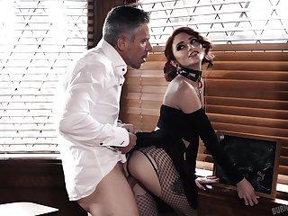 Kinky secretary with heavy makeup Lola Fae gives good enough deepthroat BJ